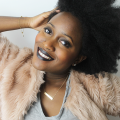 black hair, black lipstick, afro, pale pink